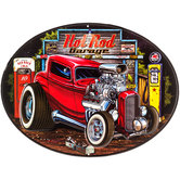 Hot Rod Garage Oval Metal Sign